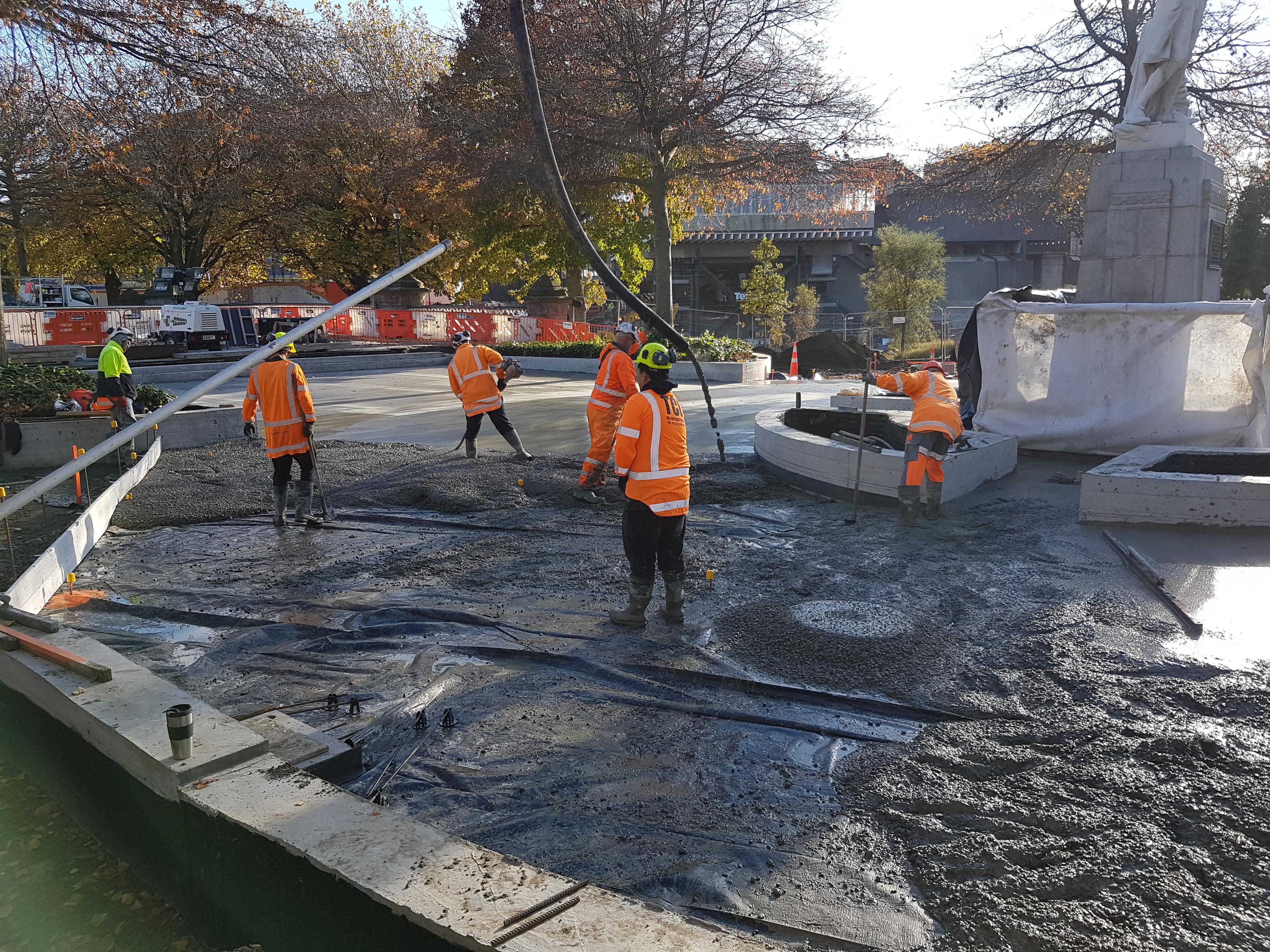 Workers place concrete into the Victoria Park build, uses Inforce fibre concrete