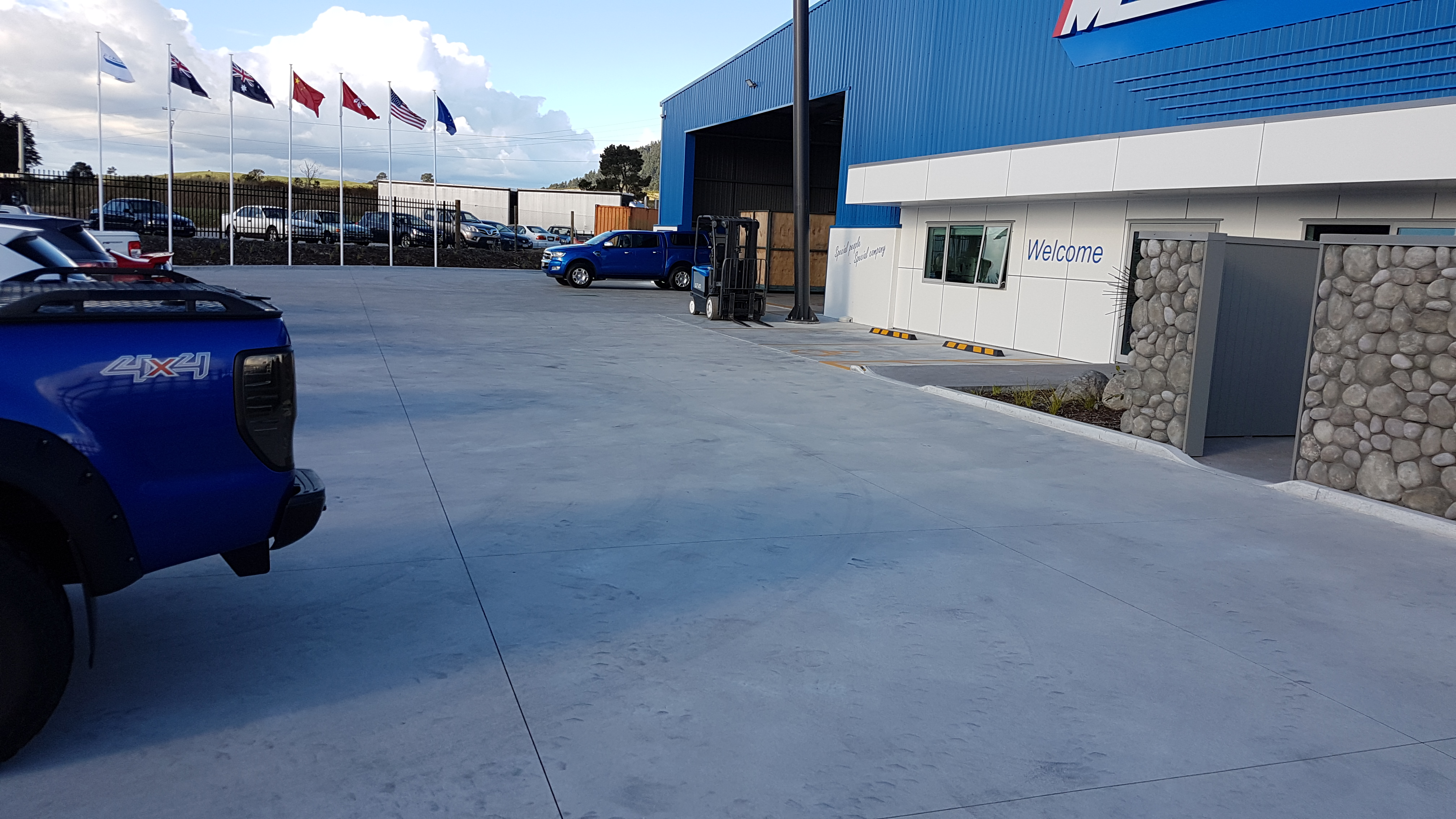 A parking area that uses a strong fibre cement yard
