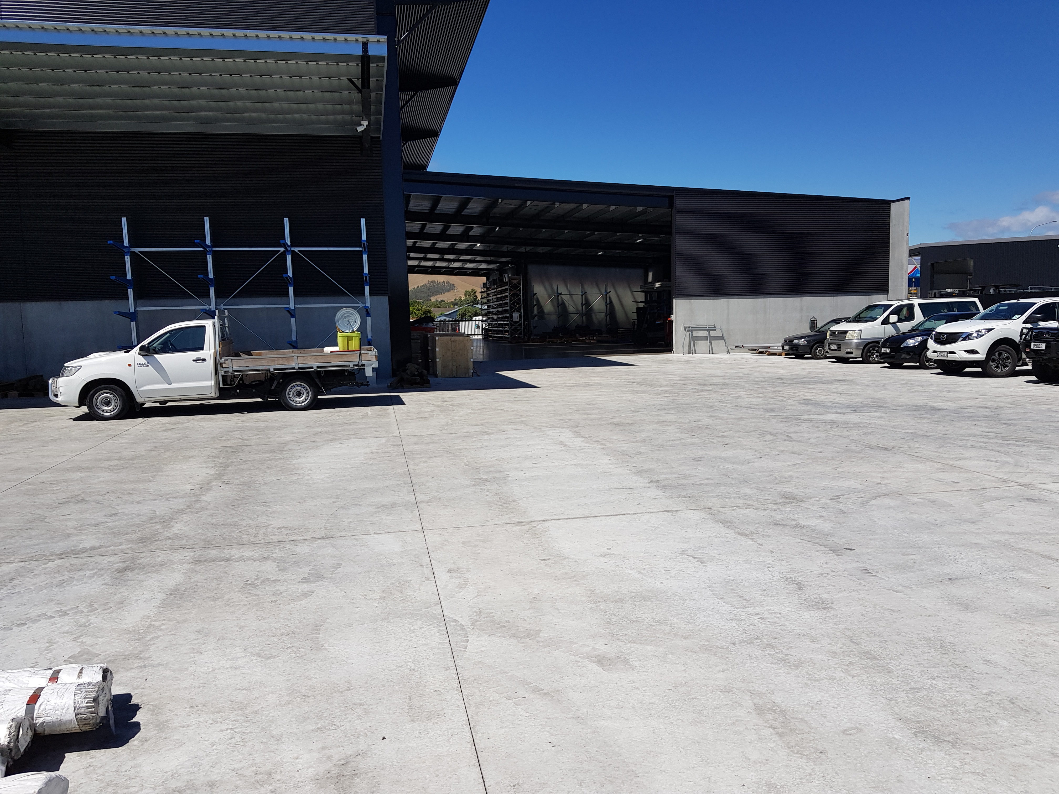 Commercial vehicles parked on strong fibre concrete slab work