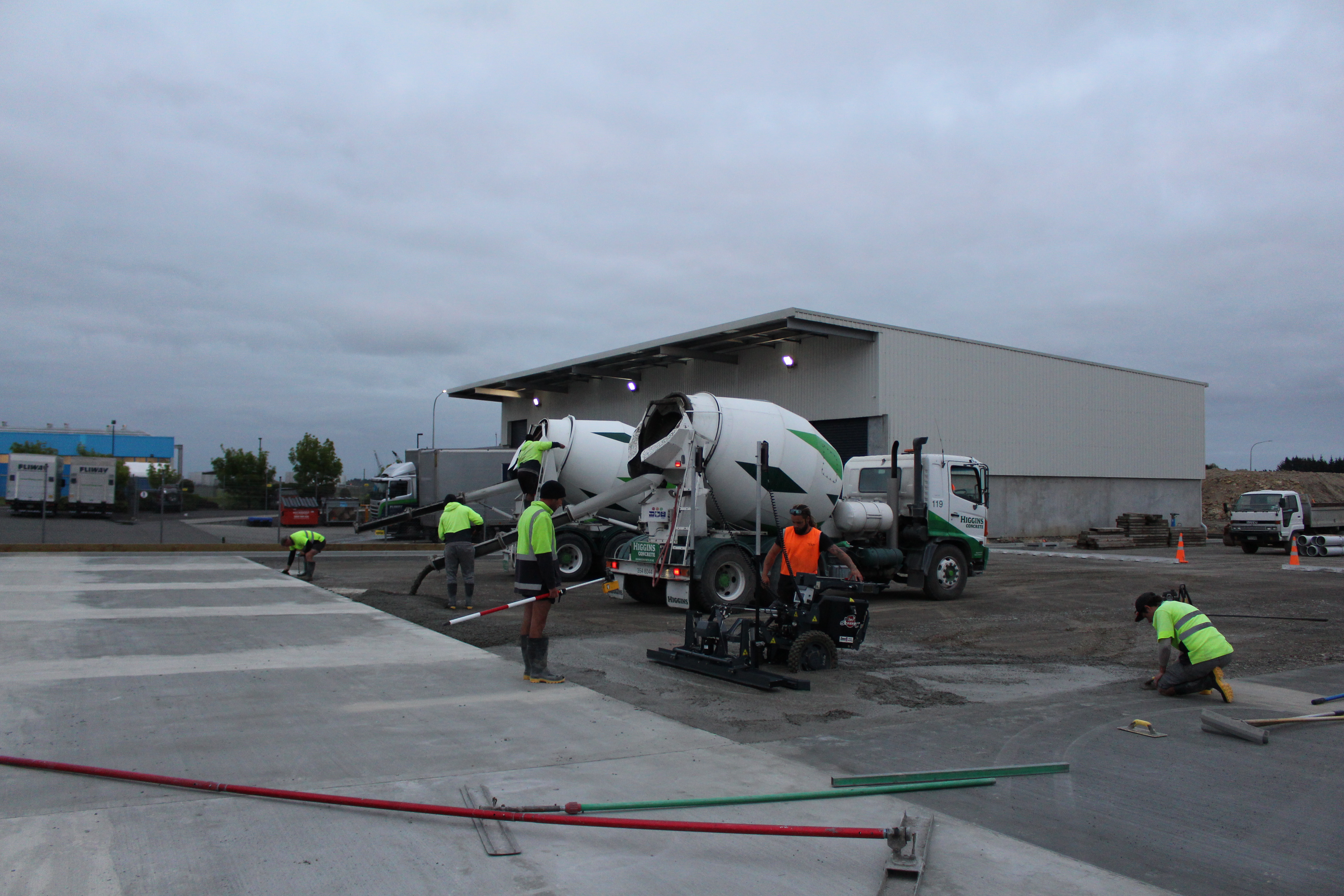 The next stage of a large outdoor concrete slab with Permaforce is poured
