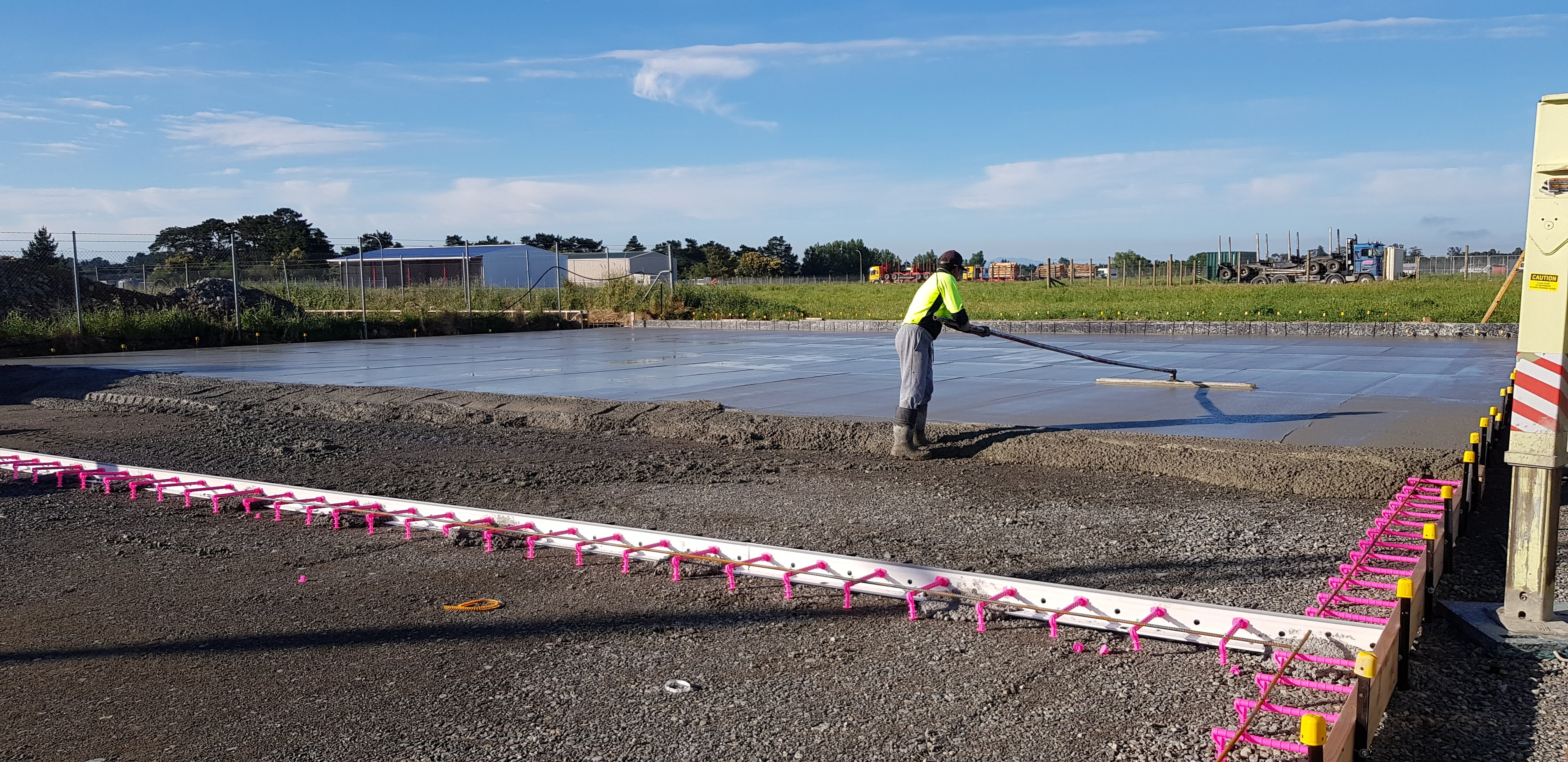 Fibre reinforced concrete is floated by a skilled placer in New Zealand