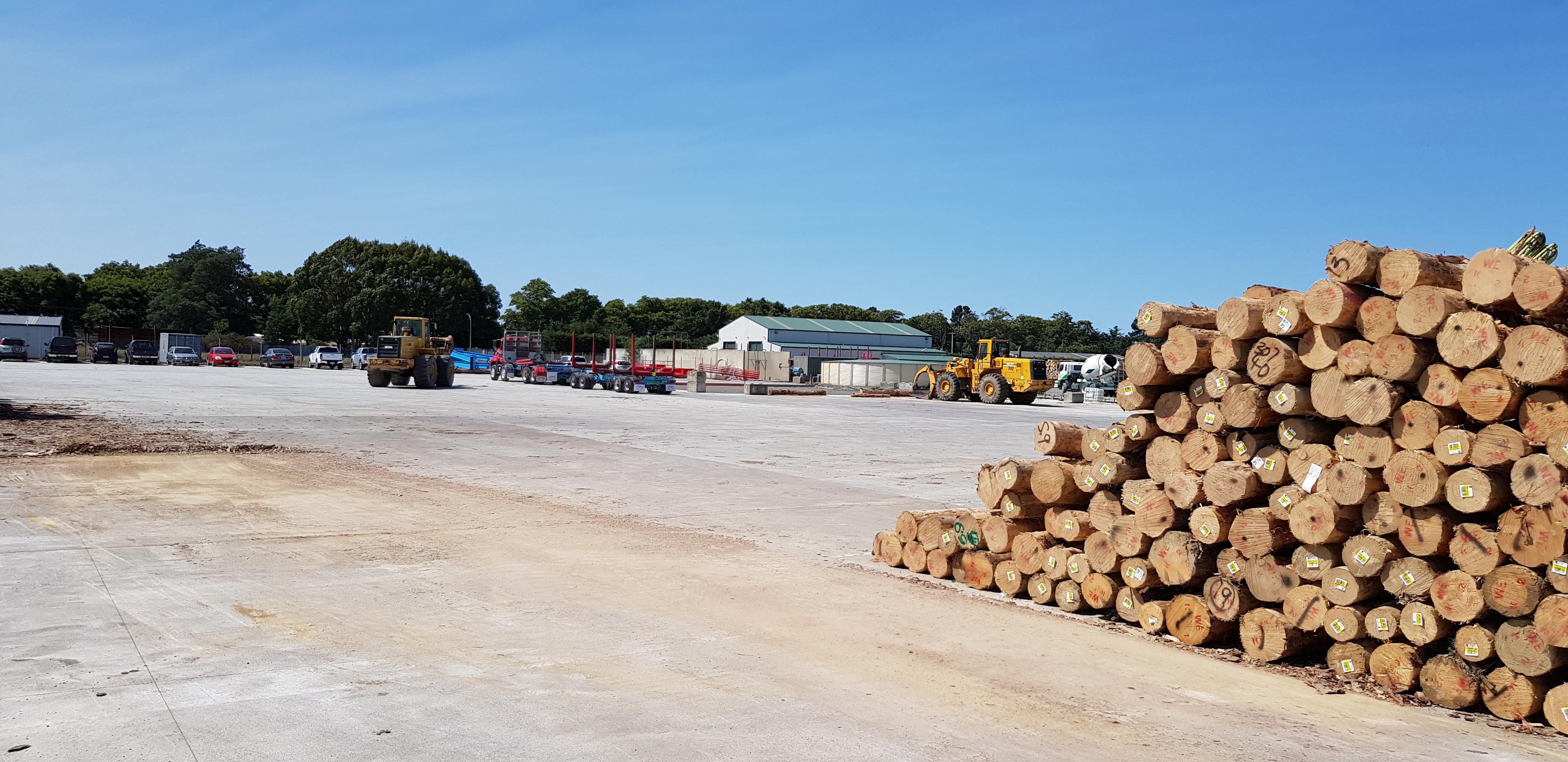 Large concrete log loading bay