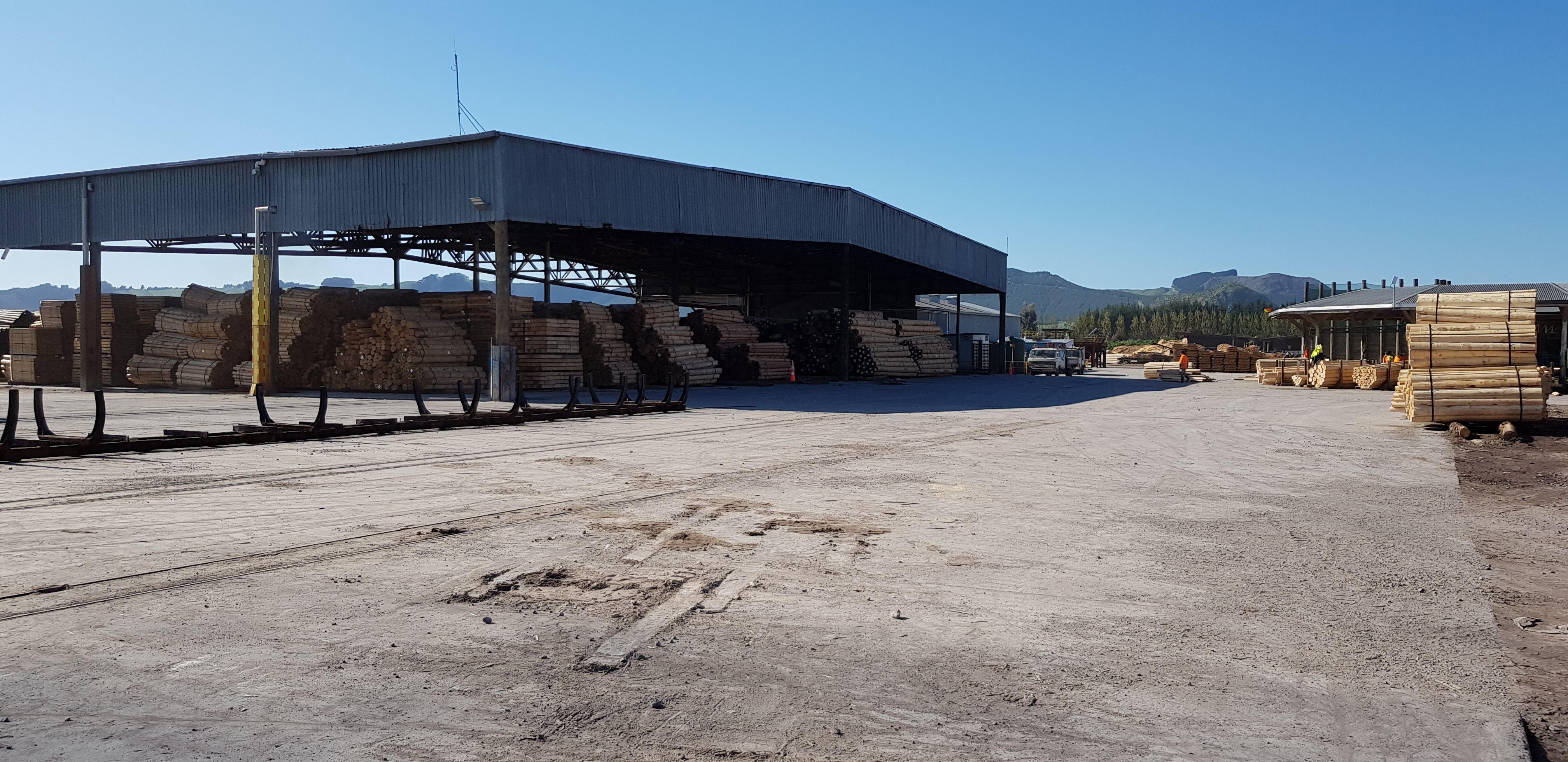 Outdoor timber yard fibre reinforced loading bay